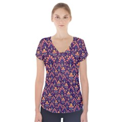 Abstract Background Floral Pattern Short Sleeve Front Detail Top