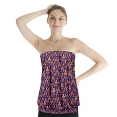 Abstract Background Floral Pattern Strapless Top