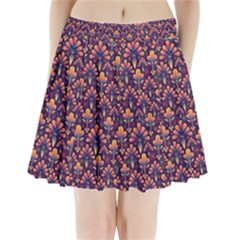 Abstract Background Floral Pattern Pleated Mini Skirt