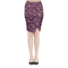 Abstract Background Floral Pattern Midi Wrap Pencil Skirt