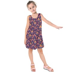 Abstract Background Floral Pattern Kids  Sleeveless Dress