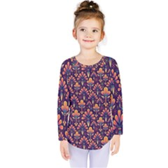 Abstract Background Floral Pattern Kids  Long Sleeve Tee
