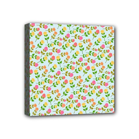 Flowers Roses Floral Flowery Mini Canvas 4  X 4
