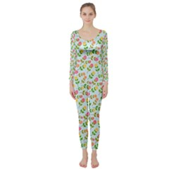Flowers Roses Floral Flowery Long Sleeve Catsuit
