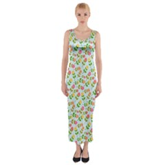 Flowers Roses Floral Flowery Fitted Maxi Dress