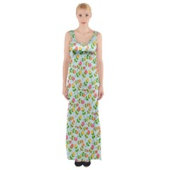 Flowers Roses Floral Flowery Maxi Thigh Split Dress