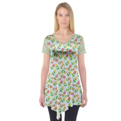 Flowers Roses Floral Flowery Short Sleeve Tunic