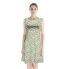 Flowers Roses Floral Flowery Sleeveless Chiffon Waist Tie Dress