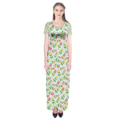 Flowers Roses Floral Flowery Short Sleeve Maxi Dress