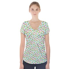 Flowers Roses Floral Flowery Short Sleeve Front Detail Top