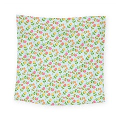 Flowers Roses Floral Flowery Square Tapestry (small)