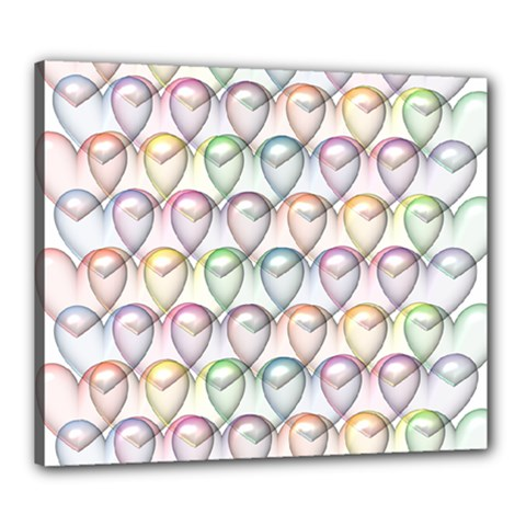 Valentine Hearts 3d Valentine S Day Canvas 24  X 20