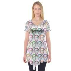 Valentine Hearts 3d Valentine S Day Short Sleeve Tunic