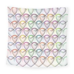 Valentine Hearts 3d Valentine S Day Square Tapestry (large)