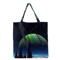 Planets In Space Stars Grocery Tote Bag