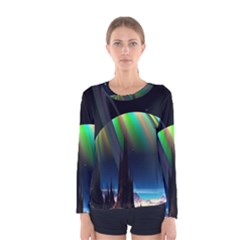 Planets In Space Stars Women s Long Sleeve Tee