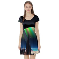Planets In Space Stars Short Sleeve Skater Dress