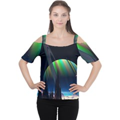 Planets In Space Stars Women s Cutout Shoulder Tee