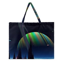 Planets In Space Stars Zipper Large Tote Bag