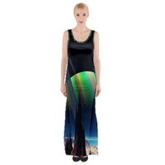Planets In Space Stars Maxi Thigh Split Dress
