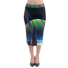 Planets In Space Stars Midi Pencil Skirt
