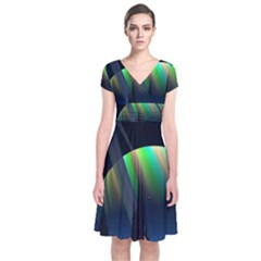 Planets In Space Stars Short Sleeve Front Wrap Dress