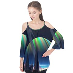 Planets In Space Stars Flutter Tees