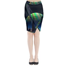 Planets In Space Stars Midi Wrap Pencil Skirt