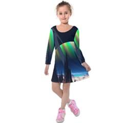 Planets In Space Stars Kids  Long Sleeve Velvet Dress