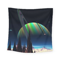 Planets In Space Stars Square Tapestry (small)
