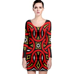 Traditional Art Pattern Long Sleeve Bodycon Dress