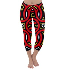 Traditional Art Pattern Capri Winter Leggings