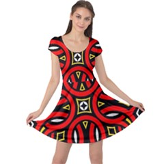 Traditional Art Pattern Cap Sleeve Dresses