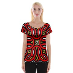 Traditional Art Pattern Women s Cap Sleeve Top