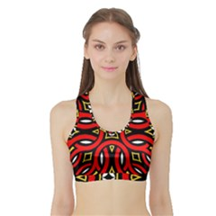 Traditional Art Pattern Sports Bra With Border