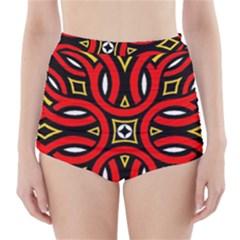 Traditional Art Pattern High Waisted Bikini Bottoms