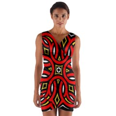Traditional Art Pattern Wrap Front Bodycon Dress