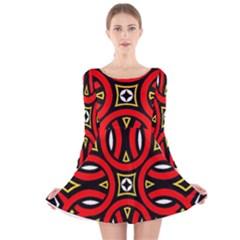 Traditional Art Pattern Long Sleeve Velvet Skater Dress