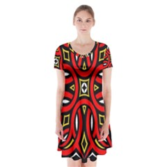 Traditional Art Pattern Short Sleeve V Neck Flare Dress