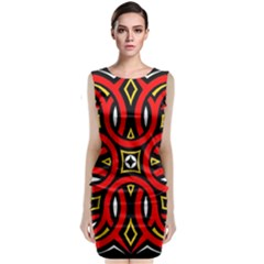Traditional Art Pattern Classic Sleeveless Midi Dress