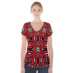 Traditional Art Pattern Short Sleeve Front Detail Top