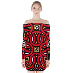 Traditional Art Pattern Long Sleeve Off Shoulder Dress