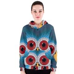 Bird Eyes Abstract Women s Zipper Hoodie
