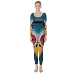 Bird Eyes Abstract Long Sleeve Catsuit