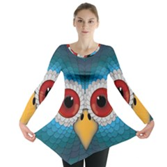 Bird Eyes Abstract Long Sleeve Tunic