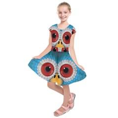 Bird Eyes Abstract Kids  Short Sleeve Dress