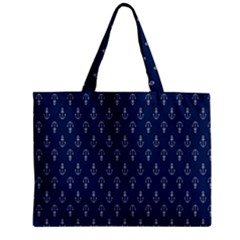 Anchor Pattern Zipper Mini Tote Bag
