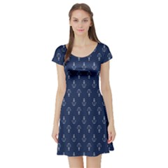 Anchor Pattern Short Sleeve Skater Dress