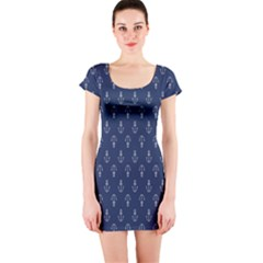 Anchor Pattern Short Sleeve Bodycon Dress