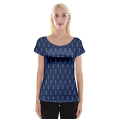 Anchor Pattern Women s Cap Sleeve Top